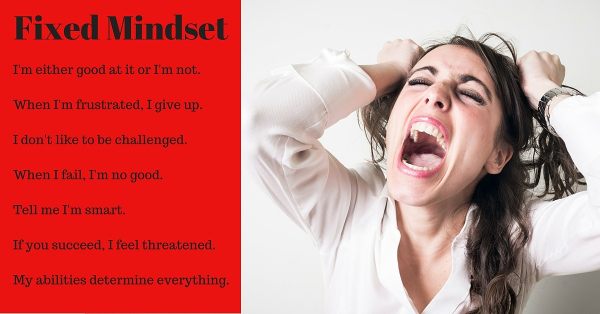 this image denotes the characteristics of a fixed mindset